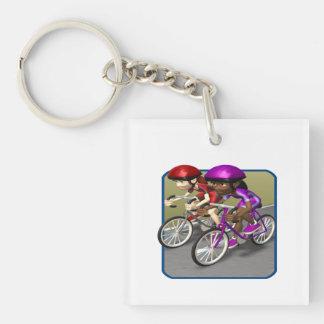 Womens Bike Race Keychain