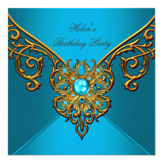Womens Birthday Party Teal Blue Gold Card