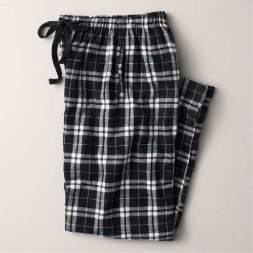 Women's Black and White Flannel Pajama Pants