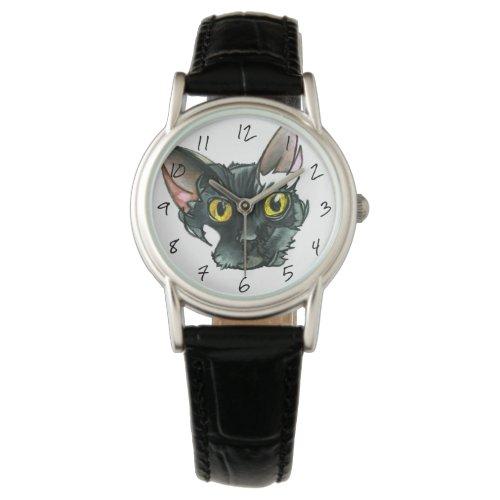 Women's Black Cat Black Leather Strap Watch
