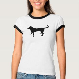 Women's black lab silhouette ringer t-shirt