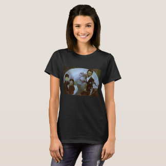 Women's Black Shirt w. Family Portrait and Forest