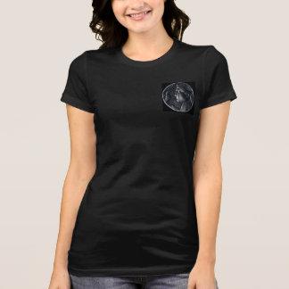Women's Black T-Shirt w. an Italian Coin from 1921