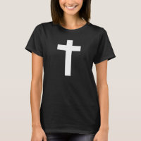 Women's Black T-Shirt with White Cross