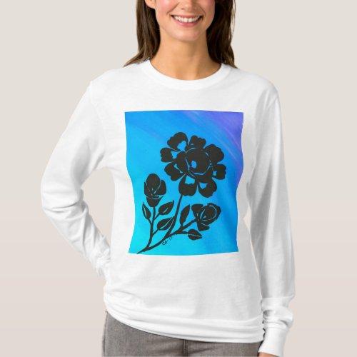Womens Blue Rose Silhouette Long Sleeve Shirt
