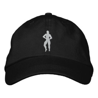 Womens Bodybuilding Pose Embroidered Baseball Hat