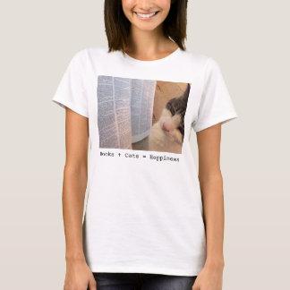 Women's Books + Cats = Happiness Tee