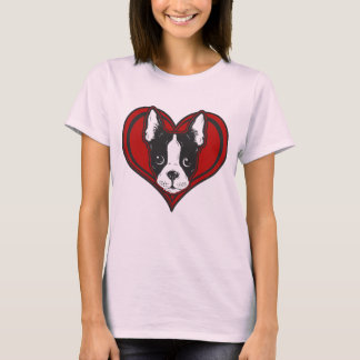 Women's Boston Terrier Heart Design Tee Shirt