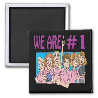 Womens Bowling Team 2 Inch Square Magnet