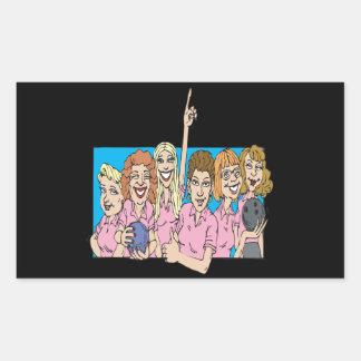 Womens Bowling Team Rectangular Sticker