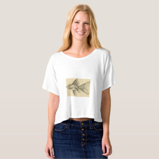 Women's Boxy Crop Top T-Shirt with Gold Fish