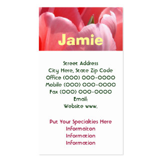Women's Business Cards Pink Tulips Flowers Nature
