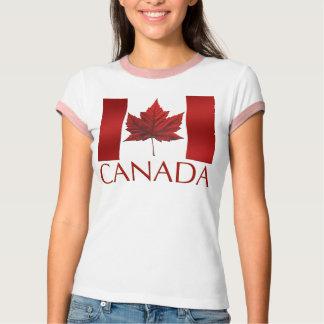 Women's Canada Flag T-shirt Souvenir Ringer Shirt