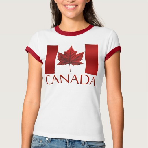 Women 39 s canada flag t shirt souvenir t shirt tee zazzle for Personalized t shirts canada