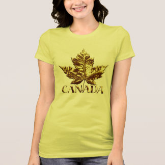 Womens Canada Souvenir T-shirt Gold Maple Leaf