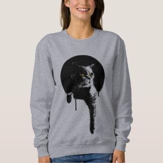 "Women's Cat Sweatshirt: Stencil ""Hanging Out"" Sweatshirt"