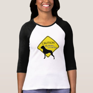 Women's Caution My Boxer is a Lap Dog Tee Shirt