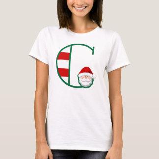 Women's Christmas Santa Tshirt Letter C