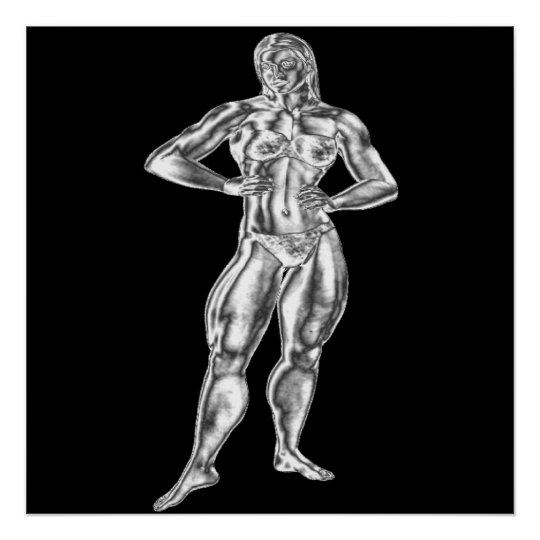 Womens Chrome Bodybuilding Pose Poster