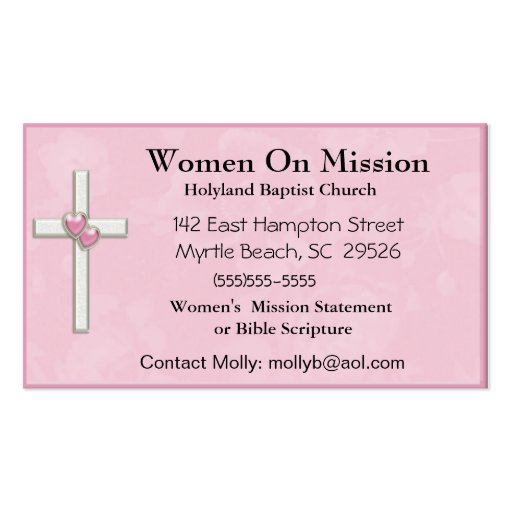 Women39s church business card zazzle for Business cards for women