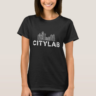Women's CityLab t-shirt: black with white skyline T-Shirt