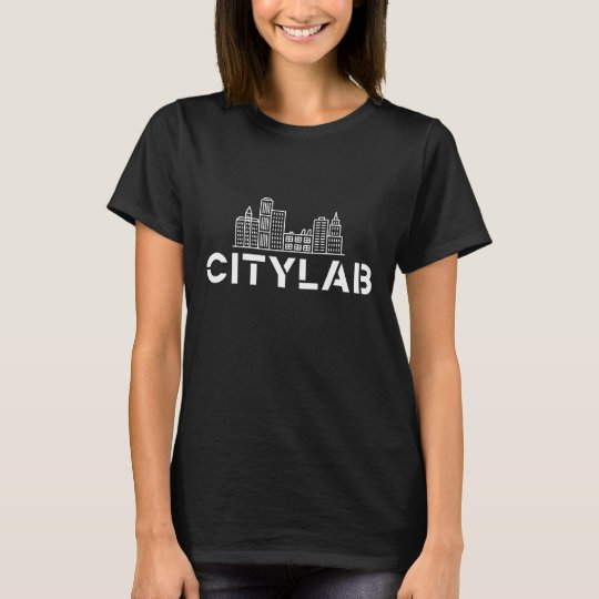 Women's CityLab t-shirt: black with white skyline T-Shirt