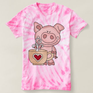 Women's Coffee Pig Tie Dye T-Shirt