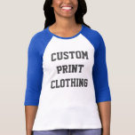"Women&#39;s Custom Bella 3/4 Sleeve Raglan T-shirt<br><div class=""desc"">Women&#39;s Custom Bella WHITE Body &amp; BABY BLUE Arms 3/4 Sleeve Retro Raglan T-shirt Blank Template.</div>"