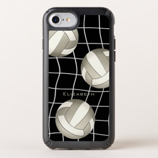 women's custom name platinum and white volleyball speck iPhone case