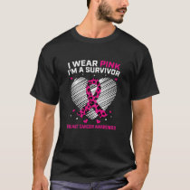 Womens Cute Breast Cancer Survivor I Wear Pink Che T-Shirt
