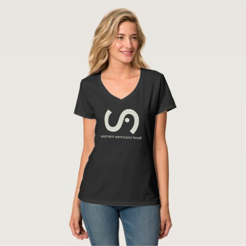 Womens dark Elephant Sanctuary Brazil v_neck tee