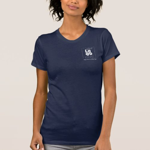 Womens Dark Navy Blue White Business Logo T_Shirt
