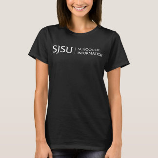 Women's Dark T-shirt - White SJSU iSchool logo