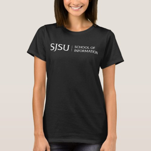 Womens Dark T_shirt _ White SJSU iSchool logo