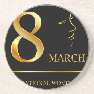 Womens day graphic in gold drink coaster