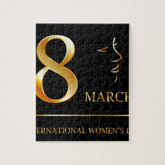 Womens day graphic in gold jigsaw puzzle