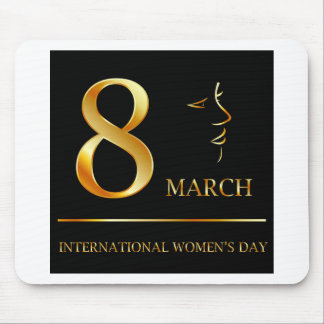Womens day graphic in gold mouse pad