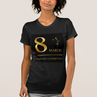 Womens day graphic in gold shirt