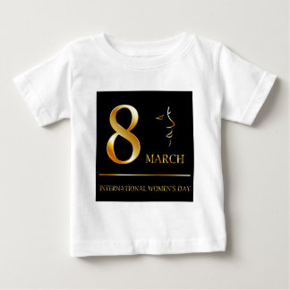 Womens day graphic in gold t shirt