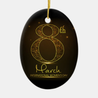 Women's day in  black and gold ceramic ornament