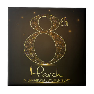 Women's day in  black and gold tile