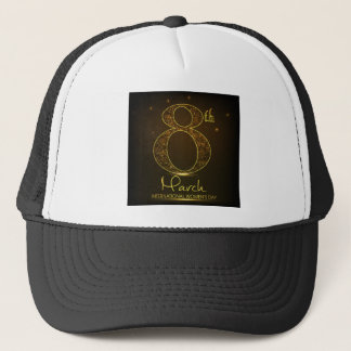Women's day in  black and gold trucker hat