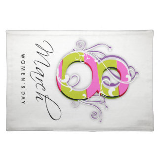 Women's day with flowery number 8 cloth placemat