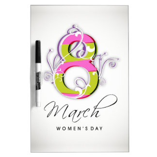 Women's day with flowery number 8 Dry-Erase board