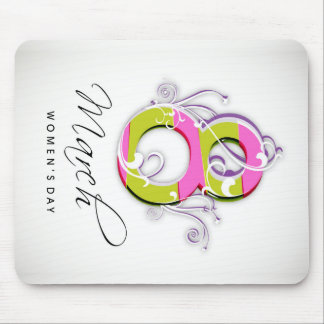 Women's day with flowery number 8 mouse pad