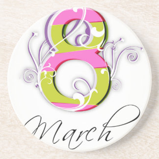 Women's day with flowery number 8 sandstone coaster