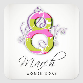 Women's day with flowery number 8 square sticker