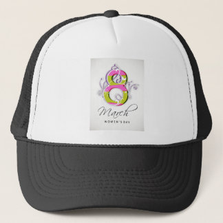 Women's day with flowery number 8 trucker hat