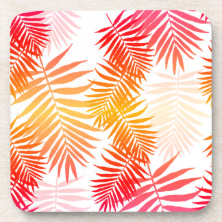 Women's Decor Palm Tree Leaf In Sunset Colors Beverage Coaster
