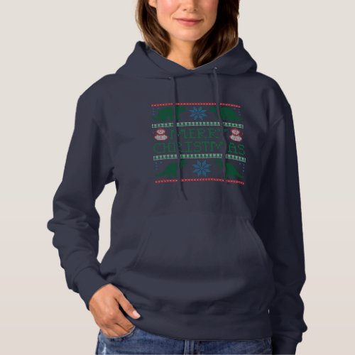 Women's Dinosaur Ugly Christmas Sweater Hoodie